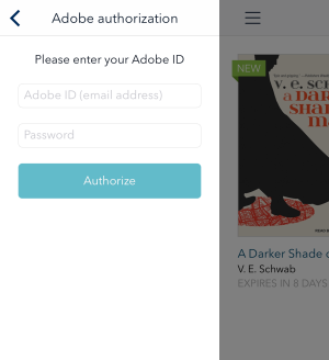 How to authorize the OverDrive app with an Adobe ID