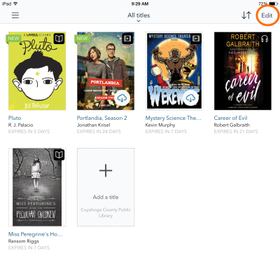 How to return a downloaded title using OverDrive for iOS