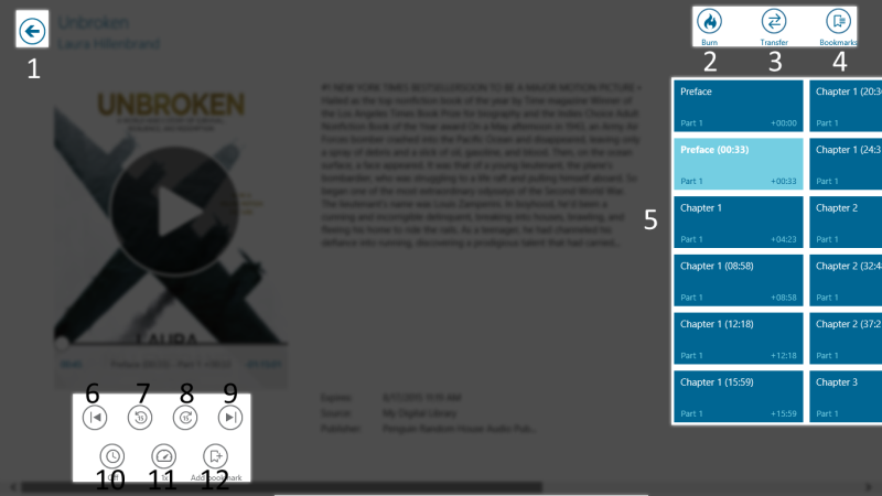 How to use the audiobook player in OverDrive for Windows 8/10