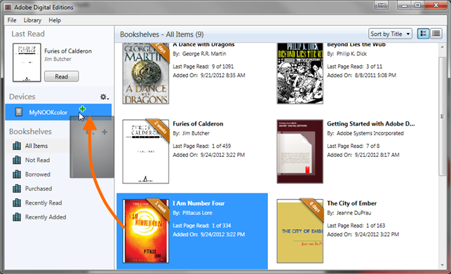 How to transfer library ebooks to an ereader using Adobe