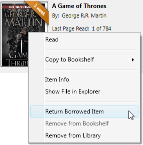 The right-click menu for a book with Return Borrowed Item selected. See instructions above.