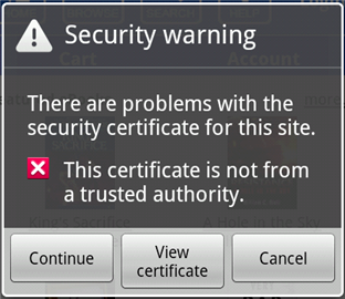 What to do if you get a Security warning error in Android