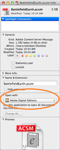 How to set Adobe Digital Editions to open ebooks automatically